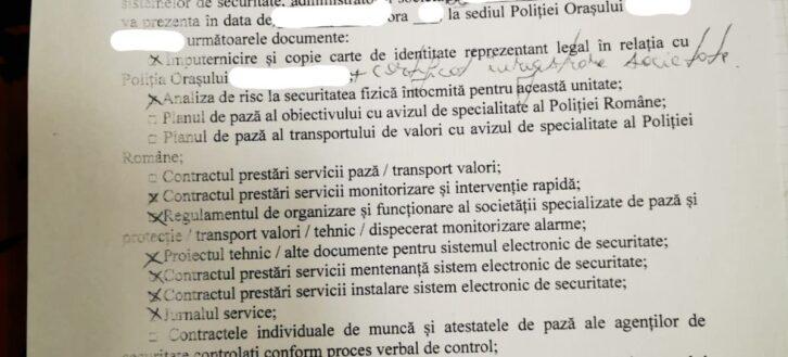 Documente cerute de Politie la un control al Directiei de Ordine Publica-Compartimentul de securitate privata